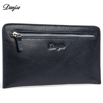 Genuine Leather Man Clutch Wallet Real Cow Skin Male Phone Bag Brand Design Hand Bag Purse Business Long Coin Pocket