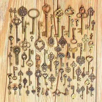 Large Skeleton Key Antique Bronze Vintage Old Look Wedding Decor Set of 70 Keys Home Decor Metal Crafts
