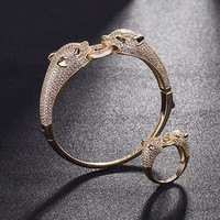8DESS Cartier Women Fashion Leopard Head Plated Bracelet Ring