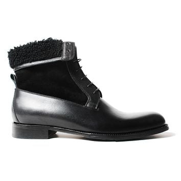 Handmade black Classic Male Boot Fashion Casual Luxury Heel Genuine Leather Shoes Ankle Snow Winter Fur Men Boots