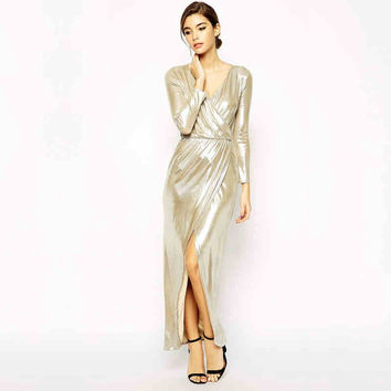 Pale Gold V-Neck Long Sleeve Maxi Dress With Slit