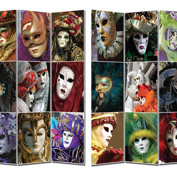 Contemporary Styled Room Divider- Masks Theme