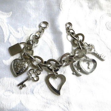 Vintage Charm Bracelet, Heart Lock and Key Charms, Silvertone Love Bracelet