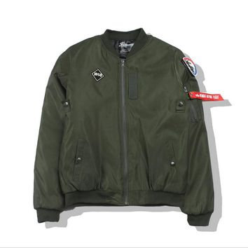 MAI printing embroidery tide cardigan solid color personality Air Force flight jacket Green