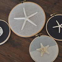 Sea Life Art, Sand Dollar, Nautical nursery, Beach Decor, embroidery hoop art, Nautical Ornaments, Starfish Ornaments, Beach Christmas,