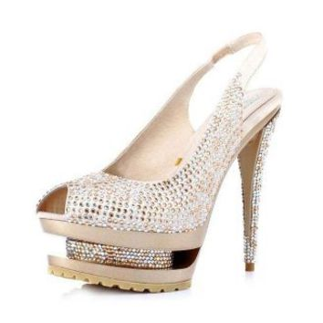 Rhinestone Fishes Mouth Sandals Golden