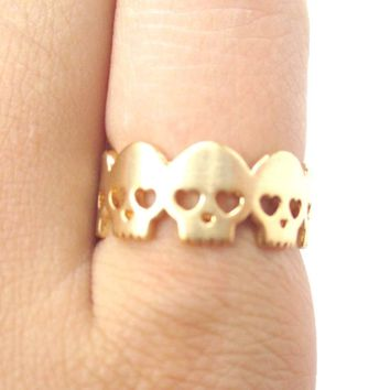 Connected Skeleton Skull with Heart Shaped Eyes Ring in Gold | US Size 6 and 7 Only