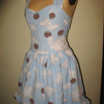 Custom Made to Order heavely Oreo Cookie Pin Up SweetHeart Ruffled Halter Mini Dress
