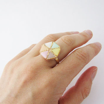 Pastel  rainbow geometric ring. Geo ring Polymer clay ring