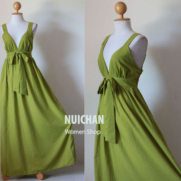 Long Olive Green Maxi Dress Elegant Vstyled Neck  Love by Nuichan