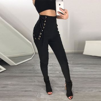 High Waist Side Lace Up Long Slim Pants