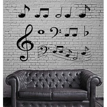 Wall Vinyl Decal Music Notes Paper Musical Keys Entertainment Decor Unique Gift (m379)