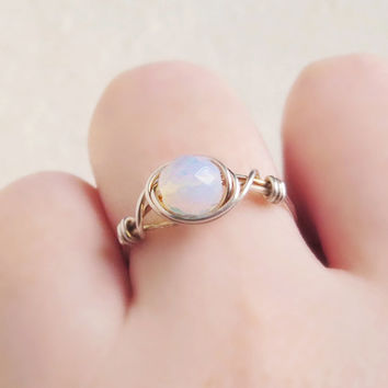 Silver Opalite Moonstone Ring - unique ring - cute ring