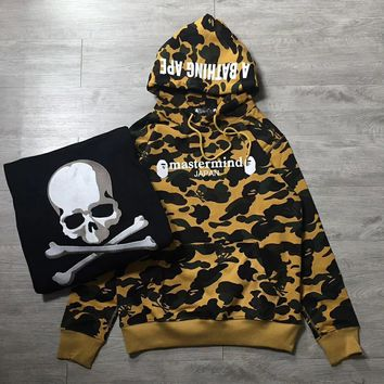 cc kuyou A Bathing Ape X Mastermind Collab Yellow Camo Hoodie