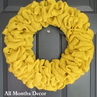 Simple Yellow Burlap Wreath