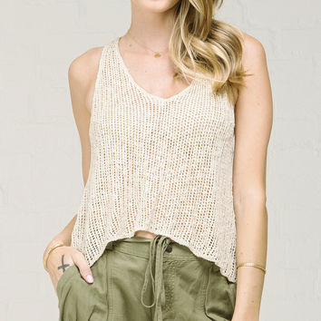 Netted Knit V-Neck Crop Tank Top