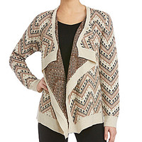 Freeway Tribal-Print Cardigan - Ivory/Multi