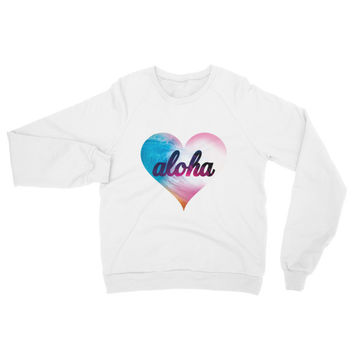 Hawaii's Surfer Girl Beach Heart Aloha Sweatshirt Sweater
