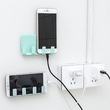 Practical Wall Phone Holder Socket Charging Box Bracket Stand Holder Ladingsteun Voor Mobiele Telefoon #P