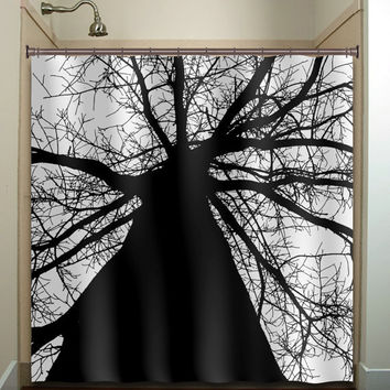 black trunk tree shower curtain bathroom decor fabric kids bath white black custom color curtains