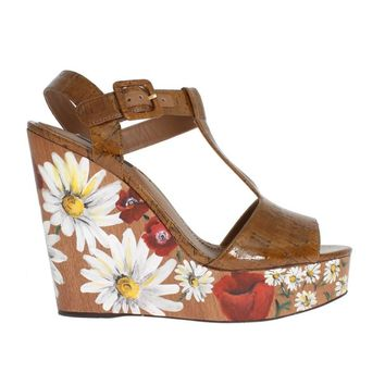 Dolce & Gabbana Brown Leather Floral Wedges Platform Shoes