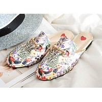 GUCCI Trending Women Apricot Floral Print Casual Cute Slippers Shoes