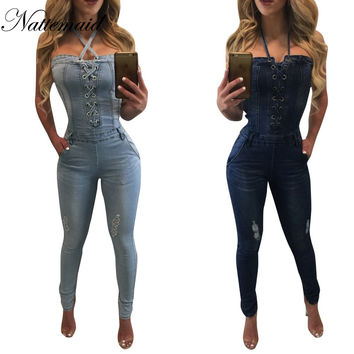 Jeans Jumpsuit  2017 Summer Vintage jumpsuits for womenFemale casual  halter neck tie up blue demin overalls for women