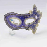 Purple Masquerade Mask with Leaves