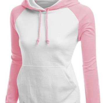 Contrast Color Splicing Pocket Slim Pullover Hoodie