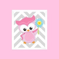 Pink Owl with Flower on Gray Chevron, CUSTOMIZE YOUR COLORS, 8x10 Prints kids wall art girl nursery decor nursery decor print art baby decor