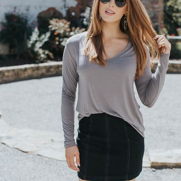 Josie V-Neck Top, Smoke Gray