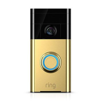 Ring Wi-Fi Enabled Video Doorbell in Polished Brass, Works with Alexa
