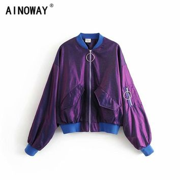 2018 Autumn  Military Satin boyfriend loose Coats oversize laser purple Waterproof women Bomber Jacket Air Force One Ma01 Pilot