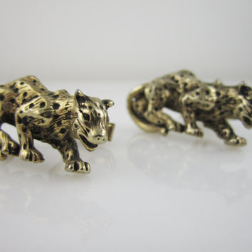 Vintage Cufflinks Leopard Cuff Links Swank Figural Men Jewelry