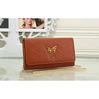 GUCCI Stylish Women  Leather Metal Butterfly Letter Metal Chain Crossbody Satchel Shoulder Bag Brown I-OM-NBPF