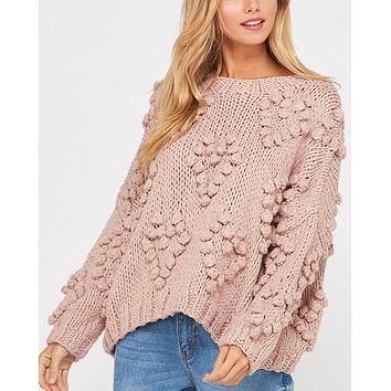 Heart On My Sleeves - handmade relaxed open knit knotted sweater - Mauve