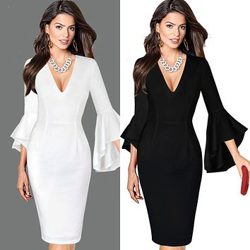 Women Sexy Deep V-neck Flare Bell Long Sleeve Office Party Bodycon Dress