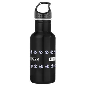 Water Bottle, Personalized, Soccer, Black Water Bottle