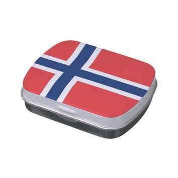 Patriotic candy tins with Flag of Norway