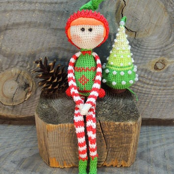 Art Doll Christmas Elf, Crochet art doll, Crochet kids toys, Soft toys for baby, Birthday gift, Christmas gift, Christmas Shelf Elf