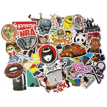 100 pcs Brand New Stickers with Supreme Box Logo Laptop Sticker Rock Stickers Gags and