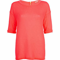BRIGHT PINK FINE KNIT TOP