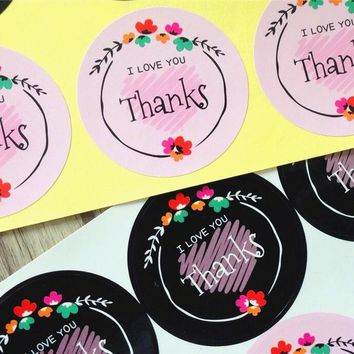 80pcs/lot Black & Pink Flower Thanks I LOVE YOU Adhesive Kraft Seal Sticker for Baking Round Gift Label Stickers Funny DIY Work