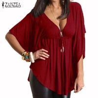 ZANZEA 2016 Summer Women Blusas Sexy Casual Loose V Neck Batwing Sleeve Tee Tops Ladies Solid Blouses Shirts Plus Size 4-24