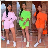 2019 women new summer three quarter length sleeve tie up hem off shoulder top shorts suit two piece set tracksuit outfit Q5102