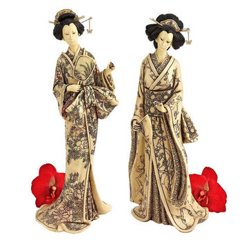 Park Avenue Collection S/2 Faux Ivory Geishas