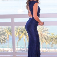 Navy Floral Lace Maxi Dress with Open Back