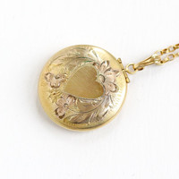 Vintage 10k Gold Filled Flower Heart Locket Necklace- 1940s 1950s WWII Era Sweetheart Round Floral Jewelry Louis Stern Co.