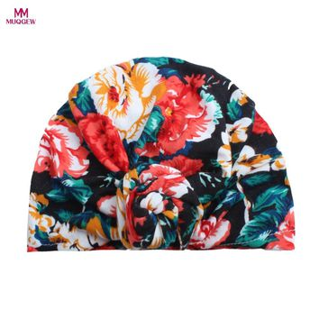 Cute Floral Print Newborn Baby Boys Girls Turban Caps Kids Cotton Beanie Hat Fashion Casual Autumn Winter Warm Cap