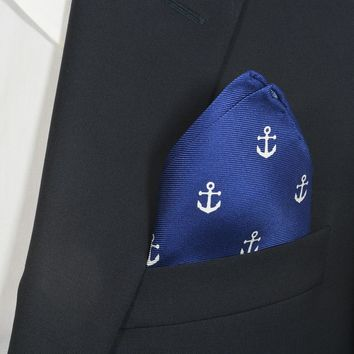 Anchor Pocket Square - Navy
